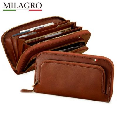 Milagro(ミラグロ)  タンポナート レザー 48枚収納ダブルファスナーウォレット ca-s-559 ブラウン